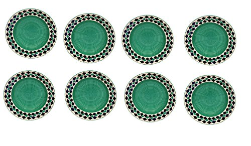 Dinner plates 10 inches in sea green colour with blue diamond pattern   set of 8  handmade pottery by Stonish