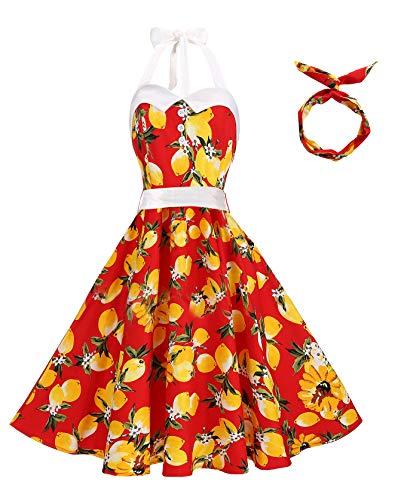 Halter Dress Bodice (BI.TENCON Women Vintage Halter Lemon Floral Printed 1950s Rockabilly Cocktail Swing Party Dresses Red Plus Size XL)
