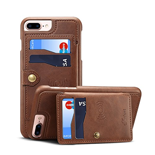 Wallet Leather Case for iPhone 8P 7+ 6 Plus Apple 5.5 inches,Leather Cover Credit ID Card Holder Slim Brown - Case Wallet 4 Michael Kors Iphone