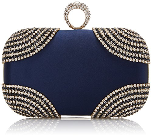 MG Collection Sabela Velvet Evening Knucklebox Embellished With Rhinestone Clutch Navy One Size