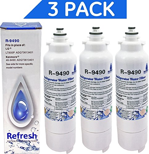 3- LG LT800P, ADQ73613401 / Kenmore Elite 46-9490 Water Filter for Refrigerator by Refresh - fits LG ADQ73613401, Kenmore 9490, 469490, ADQ73613402, 3 Pack