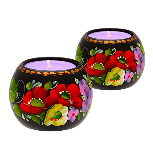 UA Creations Tealight Candle Holder Set of 2, Hand Painted Floral Design Home Décor Accent Gift for Table, Fireplace, Living Room, Office or Ethnic Restaurant, Scented Candle Included (Lilac and Red)