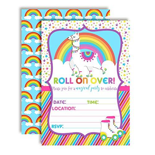 - Colorful Llama Rainbow Roller Skating Birthday Party Invitations, 20 5
