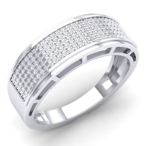 0.40 Carat (Ctw) 10K White Gold Round Diamond Men's Hip Hop Anniversary Wedding Band (Size (Mens Rings Size 10 Diamond)