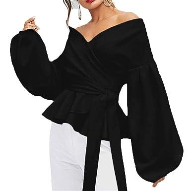 Discount Boutique Camisa de Mujer Manga Larga Camiseta Sexy Top de ...