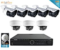 LaView 1080P IP 8 Camera Security System, 16 Channel IP PoE HDMI NVR (Resolution 1080p - 6MP) w/3TB HDD and 3 Dome & 5 Bullet High Resolution 2MP White Surveillance Camera Kit