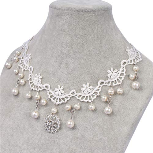 USlingbi Faux Pearl Lace Head Chain Headband Faux Rhinestone Floral Choker Necklace for Bridal Party