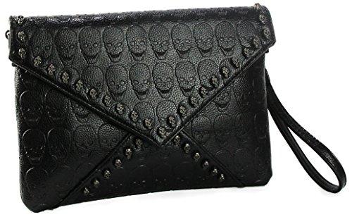 Women Leather Punk Skull Rivet Shoulder Bag Handbag - 6