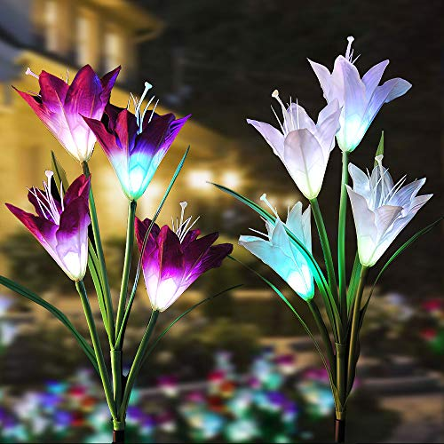 Solar Garden Stake Lights Outdoor with 8 Lily Flower, New Upgraded Multi-Color Changing, Bigger Solar Panel Longer Battery Life LED Decorative Lights for Path, Yard, Patio (2 Packs, Purple and White)