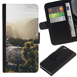 EJOY---La carpeta del tirón la caja de cuero de alta calidad de la PU Caso protector / Apple Iphone 6 / --Sun Rays Sunset verano de las montañas Caminata