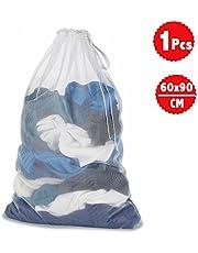OrgaWise Bolsa de lavado de red grande, bolsas de lavandería de malla duraderas con cordón ajustable para ropa enorme (tamaño: 60 x90cm) 1pcs