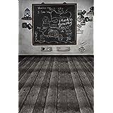 School Blackboard Wood Floor Photography Backdrop Photo Background Beautiful Flower Vinyl 98.4 IN (W)*59 IN (H) 1.5*2.1M