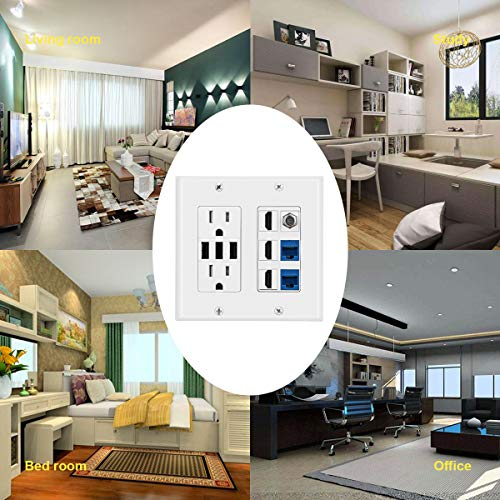 Coaxial Cable TV F Type Keystone Face Plate White 2 CAT6 RJ45 Ethernet 2 Power Outlet 15A with Dual 3.6A USB Charger Port Wall Plate with LED Lighting DBillionDa 3 HDMI HDTV