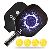 OSHER Pickleball Paddle with Pickleball Paddle Cover & 4 Pickleballs Pickleball Set Honeycomb Composite Core Pickleball Paddles Graphite Great Rackets for Beginners & Professional