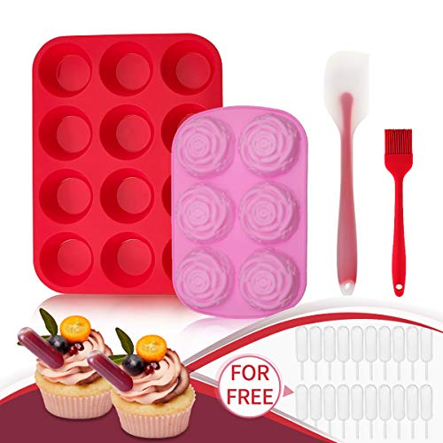 Silicone Muffin Pan and Cupcake Pans & Flower Chocolate Mold - Jeteven Large 12 Cup Muffins Tray,Fat Bombs Ice Cube,Jelly,Cupcake Baking Mold with 1x Spatula,1x Brush,20x Cupcake Pipettes