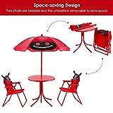 Costzon Kids Table and 2 Chair Set, Ladybug Folding