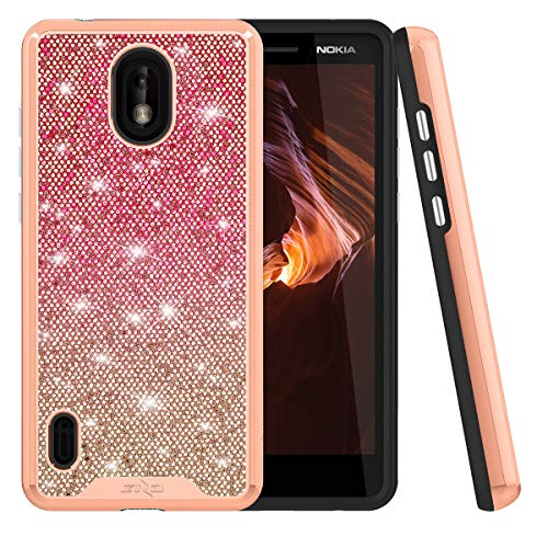 Compatible for Nokia 3.1a, Nokia 3.1c Case Gradient Series Bling Sparkly Hard TPU Bumper Cushion Reinforced Corners Women Girls Cute with Glass Screen Protector for At&T Cricket (Pink)