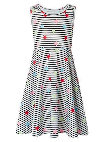 Leapparel Fancy Dresses Big Children Mini Sleeveless Striated Red Stars Novelty Skirt for Age 8 Girls 8-9T (Skirt Star Big Mini)