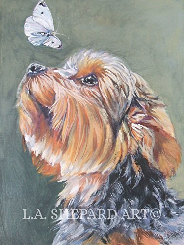A Yorkshire Terrier Dog art portrait print of an LA Shepard painting 8x10