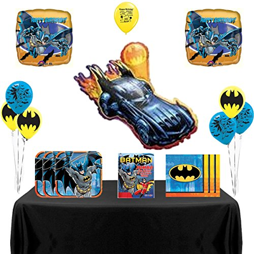Man Deluxe Party Kit - Batman Party Deluxe Supply and Balloon Decoration Bundle 59 Piece