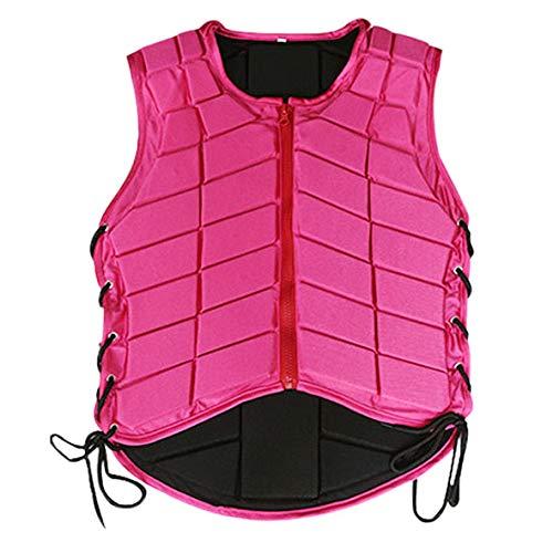 Rose Colour F Fityle Safety EVA Padded Equestrian Protective Vest Zippered Front and Breathable Horse Riding Body Protector