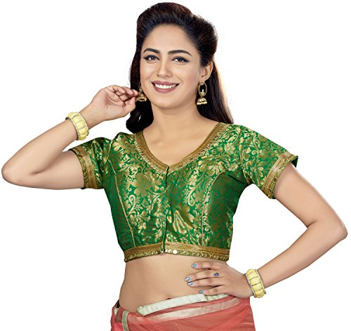 - TrendyFashionMall Readymade Gold Brocade Silk Saree Blouse Green-L-42