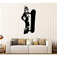 Vinyl Wall Decal Snowboarding Snowboarder Sexy Girl Sport Stickers Large Decor (1013ig) Burgundy