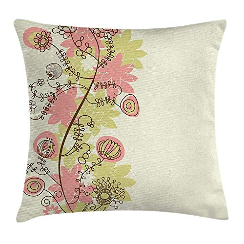 (MHKLTA Floral Throw Pillow Cushion Cover, Cute Flower Branches in Soft Pastel Tones with Swirl Lines Petals Pattern, Decorative Square Accent Pillow Case, 18 X 18 Inches, Light Green Baby)