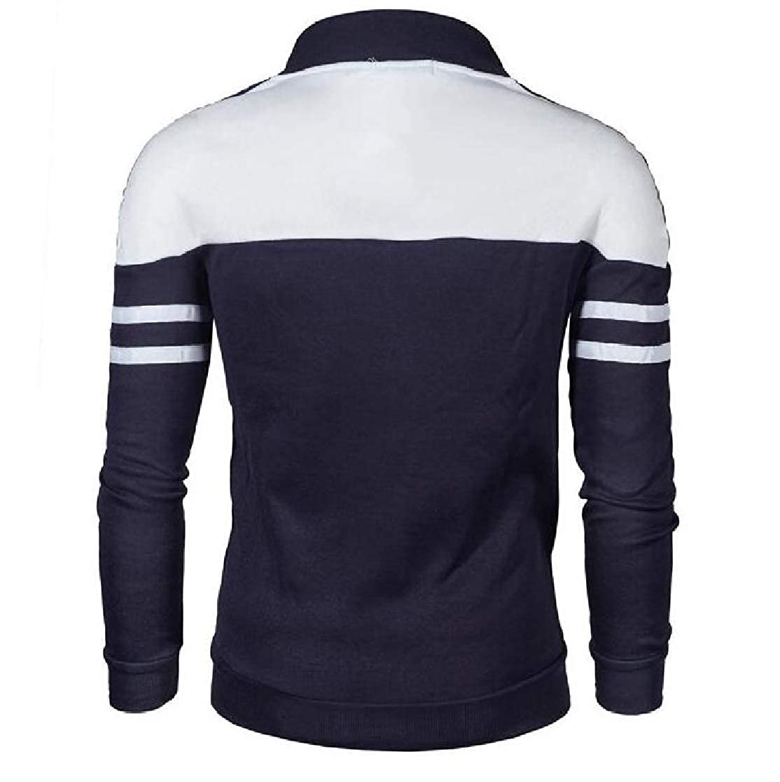 YUNY Mens Juniors Plus Size Stand Collar Zip-up Outwear Sweatshirt Navy Blue 3XL