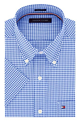 Tommy Hilfiger Men's Short Sleeve Button-Down Shirt, Royal, 16.5