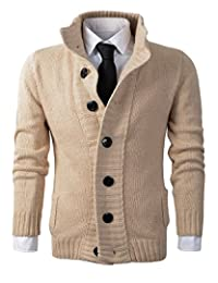 Benibos Men's Button Point Stand Collar Knitted Slim Fit Cardigan Sweater