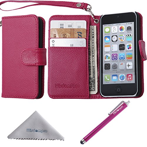 iPhone 5c Case, Wisdompro Premium PU Leather 2-in-1 Protective [Flip Folio] Wallet Case with Multiple Credit Card Holder/Slots and Wrist Lanyard for Apple iPhone 5c (Hot Pink)