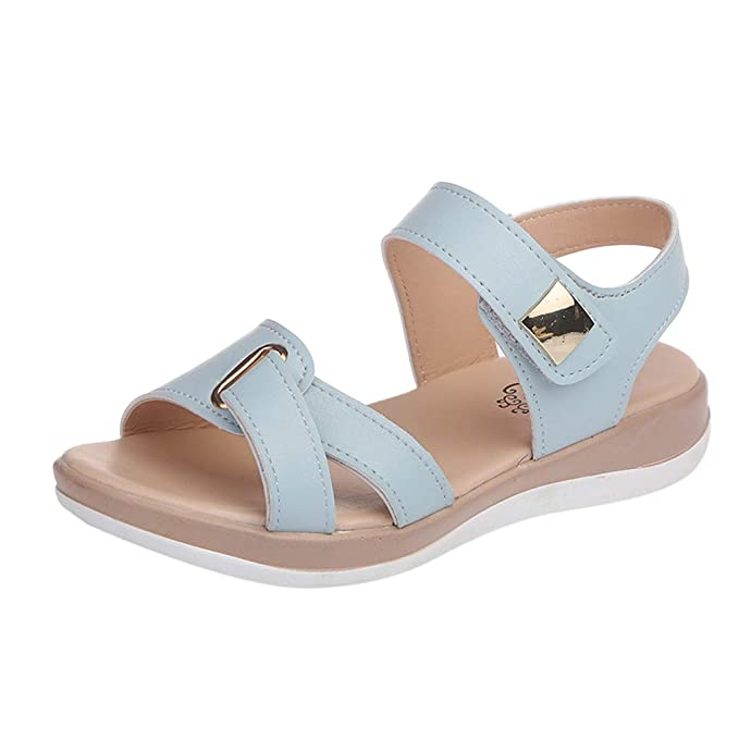 ZARLLE Sandalias Planas Verano Mujer Estilo Bohemia Zapatos para Mujer de Dedo Sandalias Talla Grande Casuales de Playa Chanclas Romanas de Mujer 2019: ...