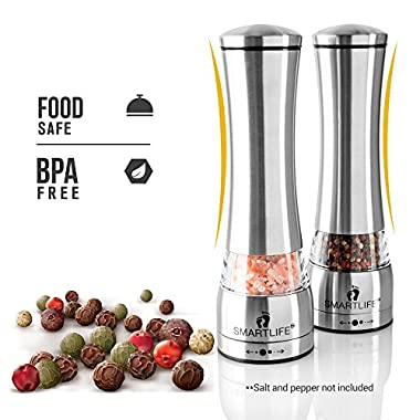 Premium Food Safe Salt & Pepper Grinder Set- Large Capacity 6 OZ- Practical Easy to Use & Great Addition to Any Modern Kitchen-Adjustable Grinding