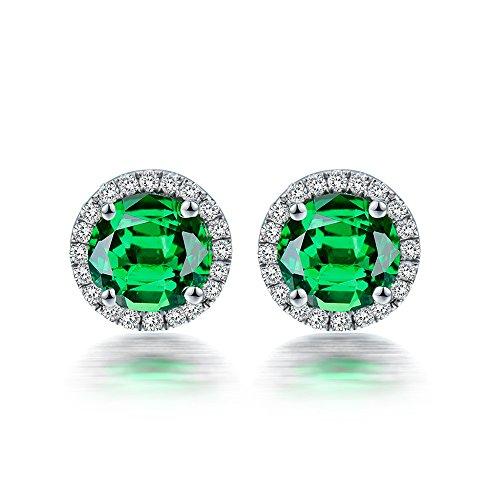 (Beautiful Lady Fashion Brilliant Green Tsavorite Pave Set Diamond 14K White Gold Women's Stud Earring Set)