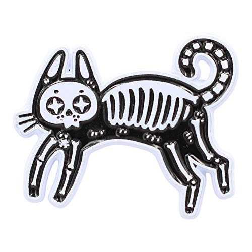 Real Sic Black Skeleton Cat Pin - Occult Black Cat Lapel Pin - Halloween Witch Enamel Pin Accessory for Jackets, Backpacks, Hats, Bags & Tops (Black) ()