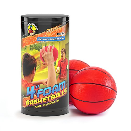 Stumptown Sportz Foam Basketball for Kids and Indoor Play - Set Includes 2 x 4 Basketballs - Compatible with Most Major Mini Basketball Hoop Brands