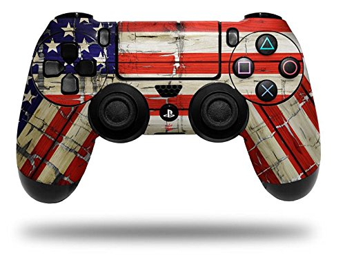Painted Faded and Cracked USA American Flag - Decal Style Wrap Skin fits Sony PS4 Dualshock Controller (CONTROLLER NOT INCLUDED) (Ps4 Controller Wrap compare prices)