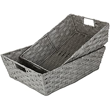 Amazon Com Mygift Gray Hand Woven Nesting Storage Baskets