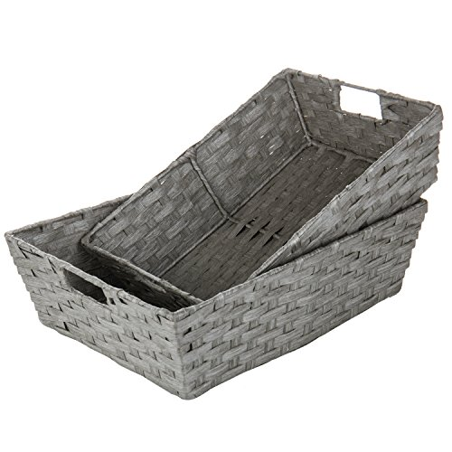 MyGift Gray Hand Woven Nesting Storage Baskets with Cutout Handles (Set of 2)