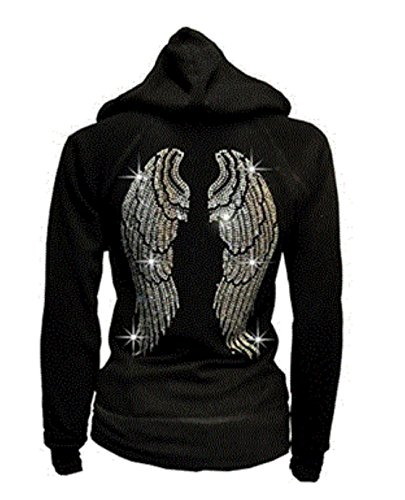 Lady Plus Size Angel Wings Zip up Hoodie Sweater with Rhinestones Front & Back (2X-Large) ()