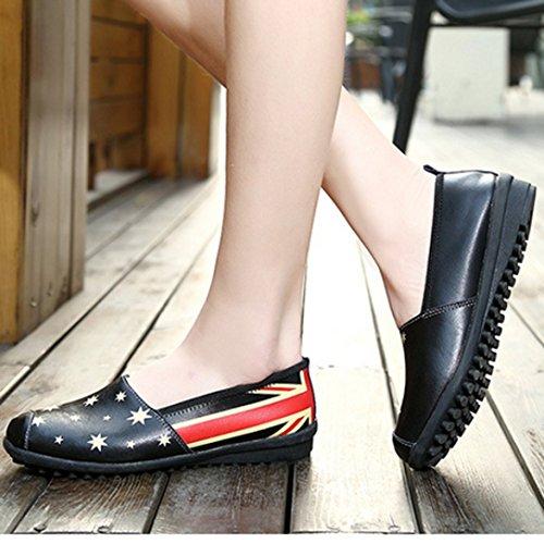 Transer® Damen Mokassins Frühling/Herbst Casual Schuh PU-Leder+Composites Sandelholz Slipper (Bitte achten Sie auf die Größentabelle. Bitte eine Nummer größer bestellen. Vielen Dank!) Schwarz