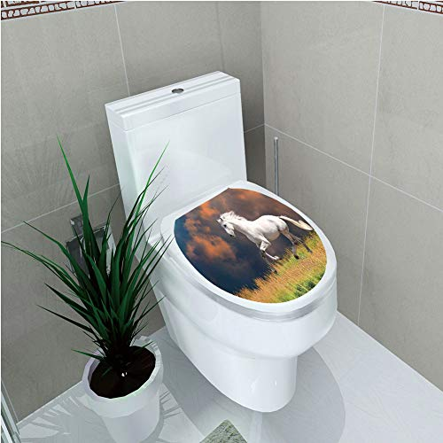Toilet Cover Decoration,Animal Decor,Andalusian Horse with a Majestic Dust Cloud Background Strong Desires Sign Photo,White Orange Green,3D Printing,W12.6