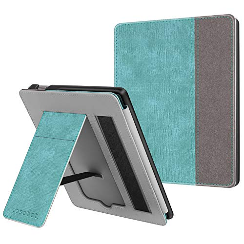 CaseBot Stand Case for Kindle Oasis (Previous 9th Generation, 2017 Release) - Premium PU Leather Sleeve Cover with Card Slot and Hand Strap (Not Fit All-New Kindle Oasis 10th Gen, 2019), Tur-Brown