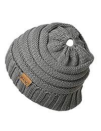 Knitted Hat, Shoresu Womens Girls Stretch Messy Bun Ponytail Beanie Holey Warm Cap Winter - Light Gray