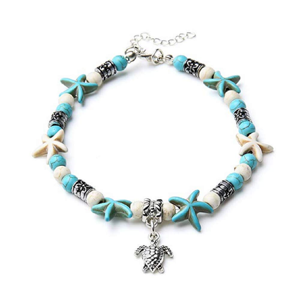 Starfish Turtle Anklets Multiple Layered Boho Gold Chain Anklet Heart Beach Rhinestones Turquoise Stone Charm Anklet