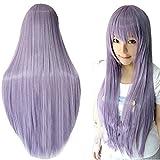Wigs 80cm Long Straight Anime Fashion Women's Cosplay Wig Party Wig (80cm, Purple)