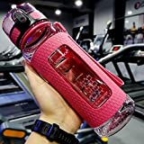 UZSPACE Sport Water Bottles Portable Gym Anti-Fall Leak-Proof Large Capacity Fitness Kettle Tritan Plastic Drink Bottle BPA Free (700ml Pink) (Color: 700ml Pink)