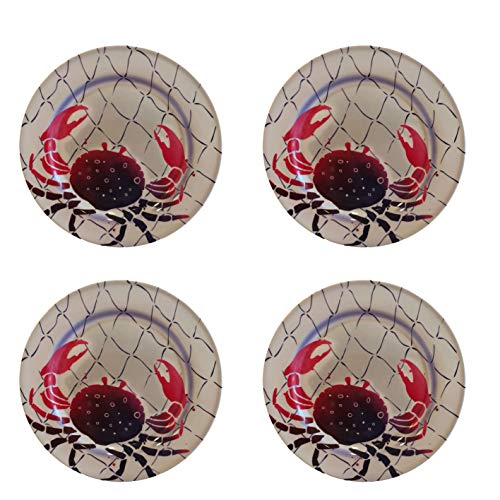 Ocean Designs Melamine Plates & Bowl Sets - Starfish, Seahorse, Crab & Fish Designs (Set of 4 Plates, Crab)