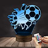 3D Football Night Lamp Bursting Soccer 3D Optical Illusion LED Lights Football Fans Glowing LED Light Sport Home Decorative Lighting